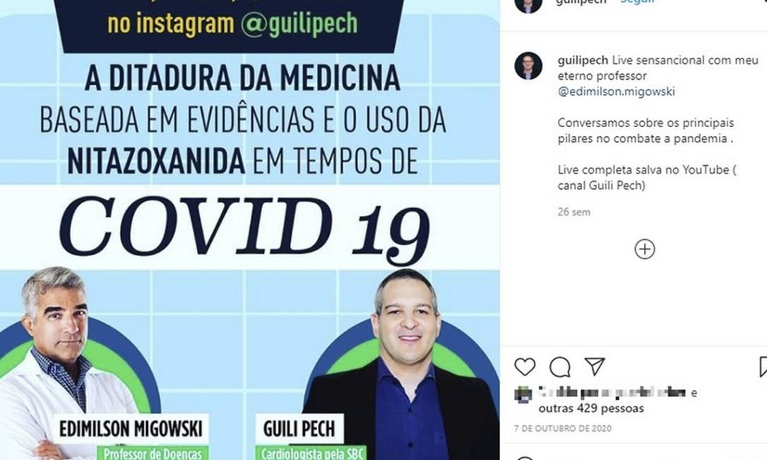 Em live, Migowski e Guili Pech pregam contra a 'ditadura da medicina' Foto: Reprodução
