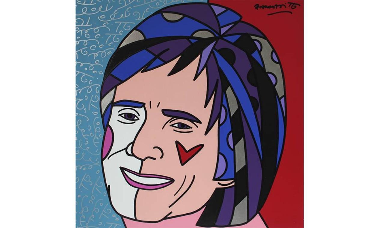 Retrato de Roberto Carlos feito pelo artista plástico Romero Britto Foto: Romero Brito