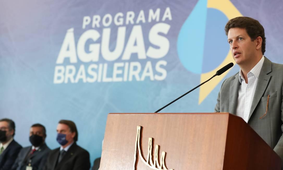 Ministro do Meio Ambiente, Ricardo Salles, durante evento em Brasília no dia 22 de março Foto: Marcos Correa / Agência O Globo