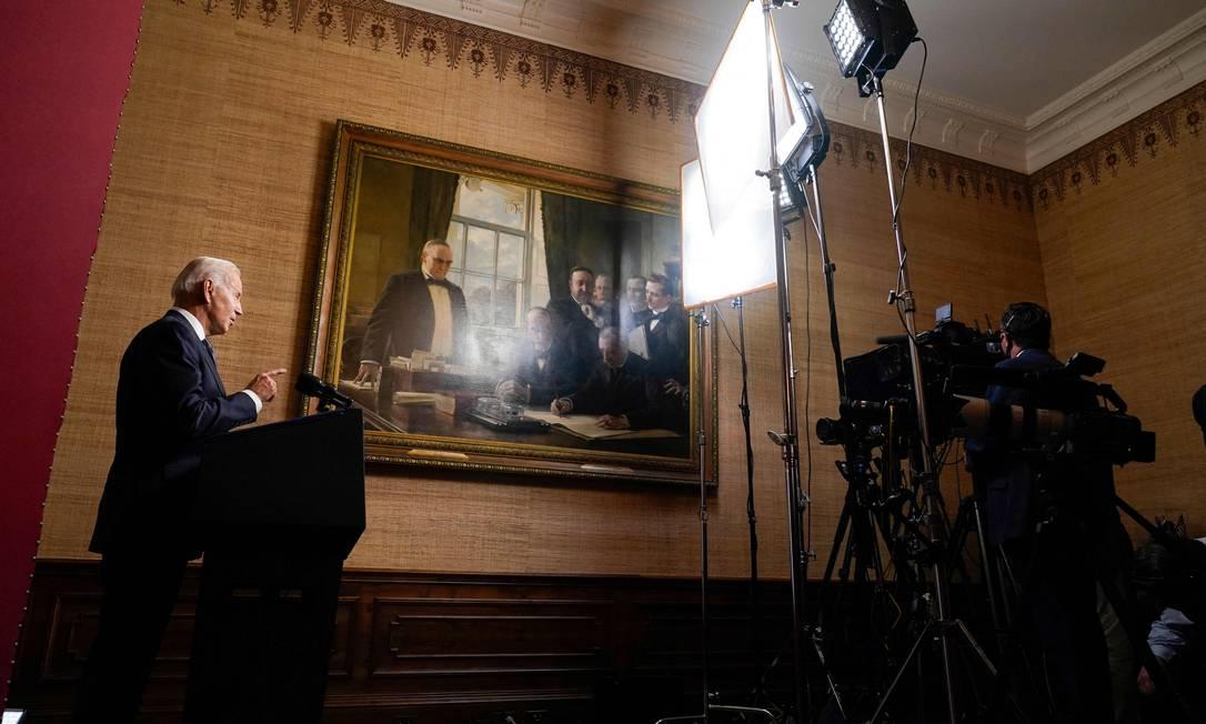 Joe Biden anuncia retirada dos militares americanos do Afeganistão Foto: ANDREW HARNIK / AFP