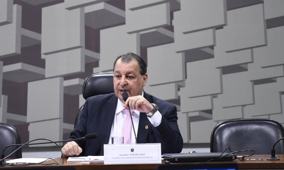 Defendido pelo governo, senador Omar Aziz (PSD-AM) é um dos cotados para a presidência da comissão Foto: Edilson Rodrigues / Agência Senado