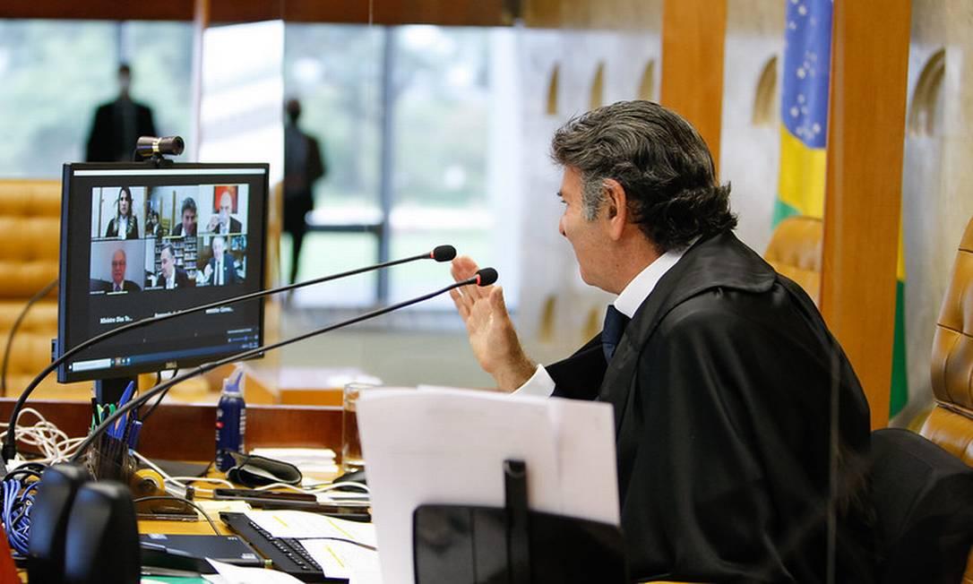Luiz Fux preside sessão do STF sobre decisão de Fachin de anular as condenações de Lula na Lava-Jato Foto: Divulgação