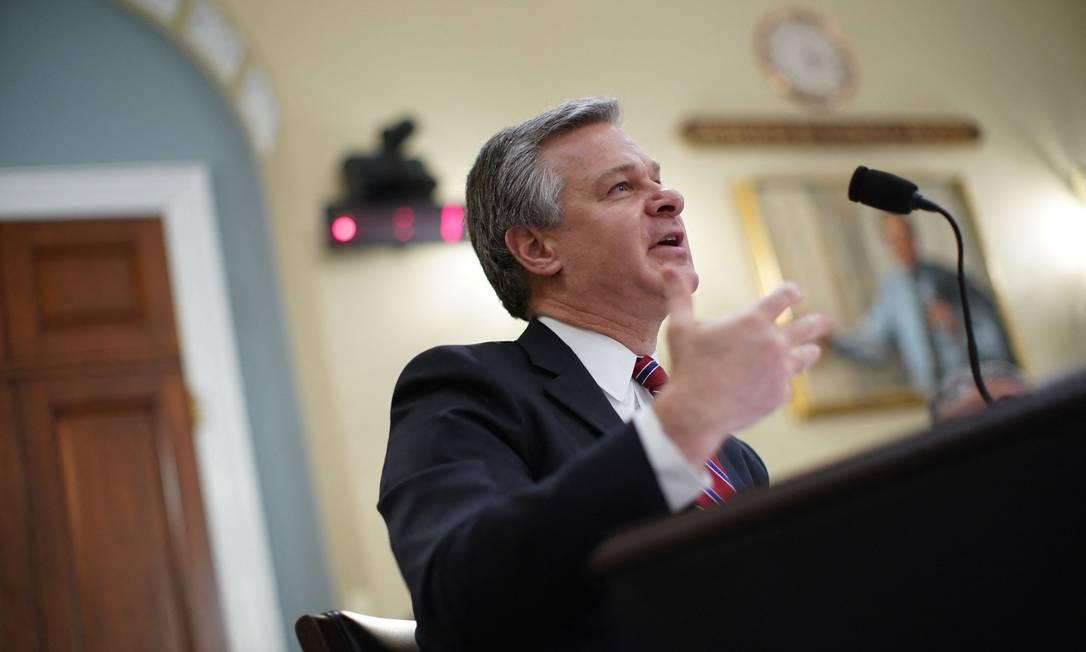 Diretor do FBI, Christopher Wray, presta depoimento na Comissão de Inteligência da Câmara, em painel sobre ameaças globais Foto: AL DRAGO / AFP