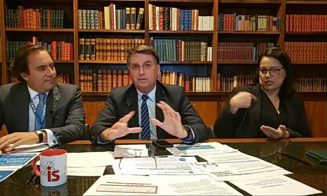 'Só Deus me tira da cadeira presidencial', diz Bolsonaro sobre possível processo de impeachment Foto: Reprodução