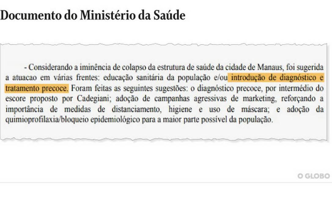 Documento do Ministério da Saúde lista ações emergenciais tomadas entre o dia 6 e 16 de janeiro em Manaus Foto: Reprodução