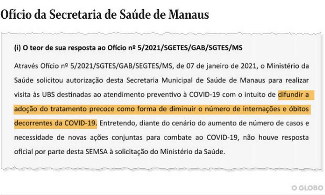 """Segundo secretaria de Saúde de Manaus, o Ministério da Saúde pediu autorização para """"difundir a adoção do tratamento precoce"""". Foto: Reprodução"""