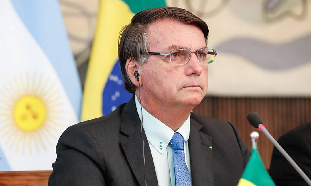 O presidente Jair Bolsonaro participa de reunião virtual com o presidente da Argentina, Alberto Fernández Foto: Alan Santos/Presidência/30-11-2020