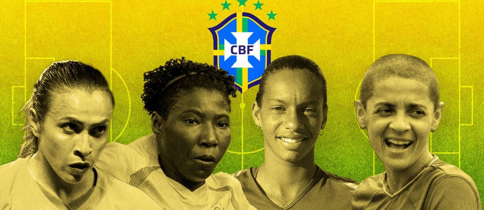 As maiores jogadoras da história do futebol brasileiro Foto: Editoria de Arte