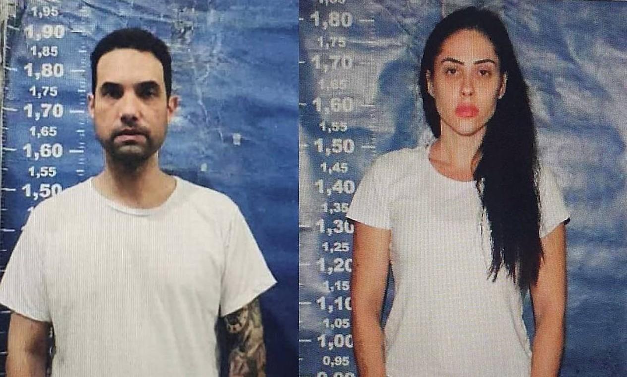 Dr. Jairinho e Monique Medeiros, em fotos feitas no ingresso do casal no sistema penitenciário Foto: Reprodução / Agência O Globo