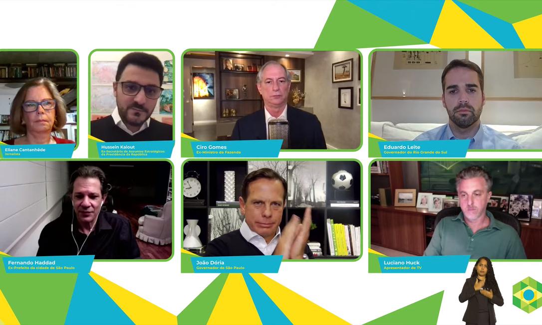 Fernando Haddad, Ciro Gomes, João Doria, Eduardo Leite e Luciano Huck participam da Brazil Conference Foto: Reprodução/ YouTube