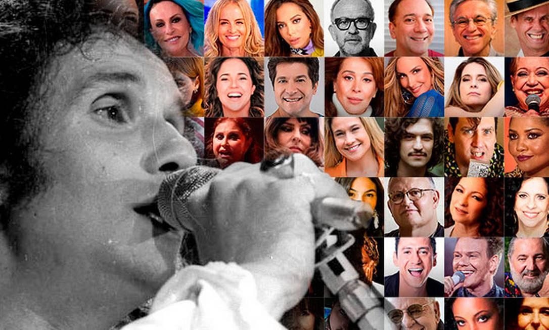 Roberto Carlos e o júri de famosos que escolheu suas músicas favoritas Foto: Arte sobre fotos de divulgação