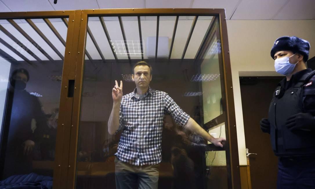 Alexei Navalny durante audiência em Moscou Foto: MAXIM SHEMETOV / REUTERS/20-2-21