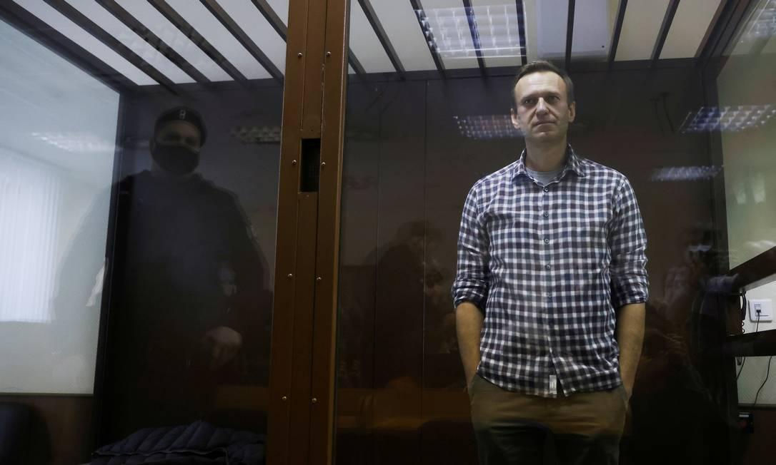 Navalny comparece a uma audiência em um tribunal em Moscou, Rússia, em 20 de fevereiro de 2021. REUTERS / Maxim Shemetov / Foto do arquivo Foto: MAXIM SHEMETOV / REUTERS - 20/02/2021