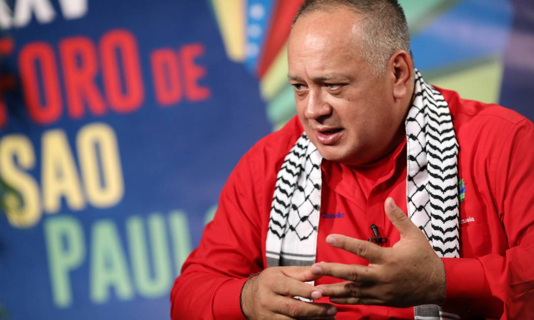 Diosdado Cabello, presidente da Assembleia Nacional Constituinte, fala durante entrevista na abertura do Fórum de São Paulo em Caracas, Venezuela Foto: MANAURE QUINTERO / REUTERS/25-07-2019