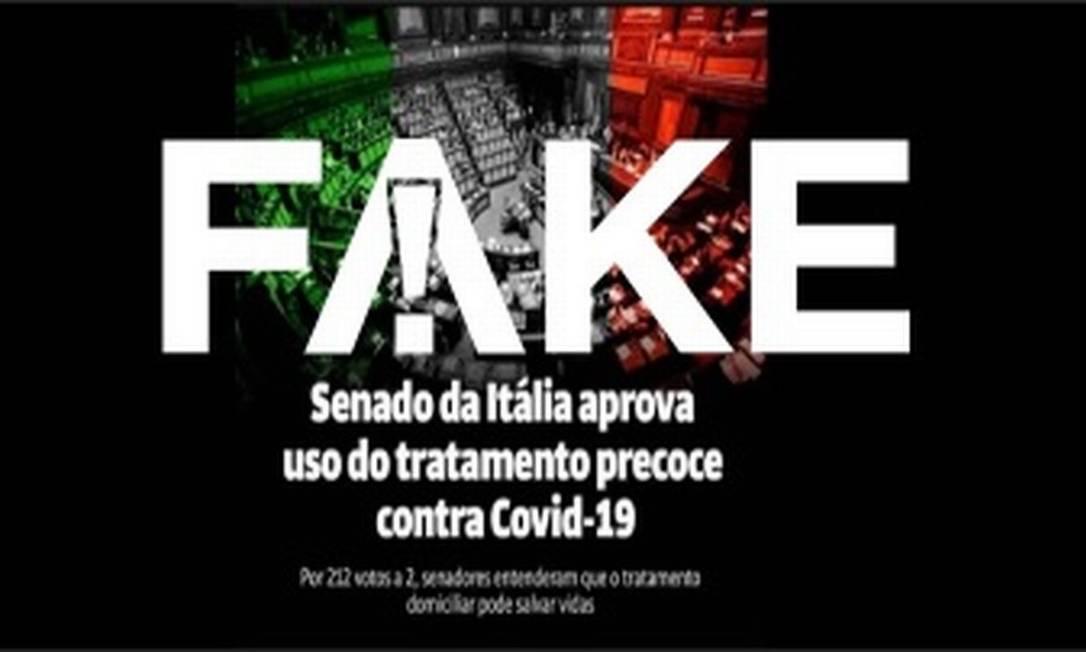 É #FAKE que Senado italiano aprovou 'tratamento precoce' contra Covid-19 Foto: Reprodução