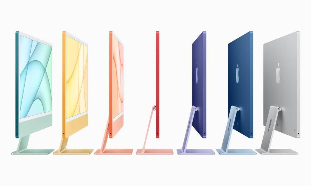 Apple lança nova linha de Macs. As novas versões da máquina possuem sete cores variadas e novo design - mais fino e com leve inclinação. Foto: Divulgação