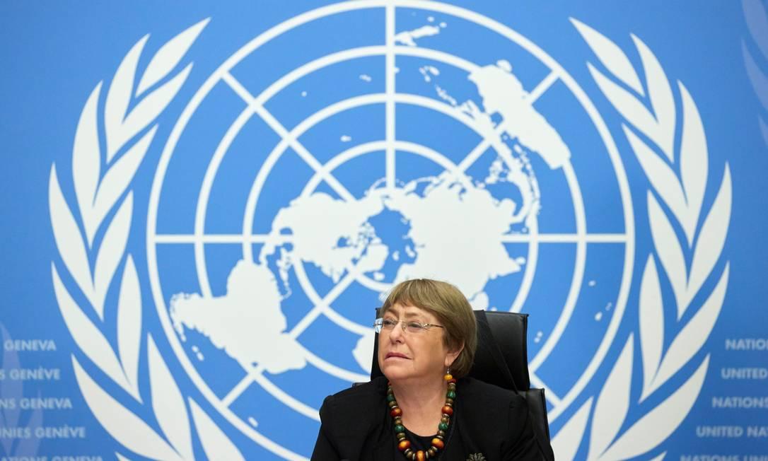 Alta comissária de Direitos Humanos da ONU, Michelle Bachelet, pede investigação sobre mortes em protestos em Cali, na Colômbia Foto: DENIS BALIBOUSE / REUTERS