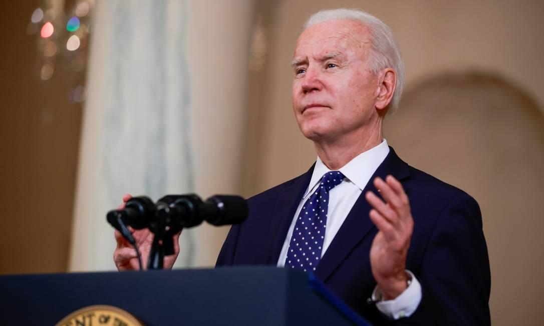 Presidente dos Estados Unidos, Joe Biden, durante discurso na Casa Branca Foto: TOM BRENNER / REUTERS/20-4-21