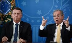O presidente Jair Bolsonaro e o ministro da Economia Paulo Guedes Foto: Pablo Jacob