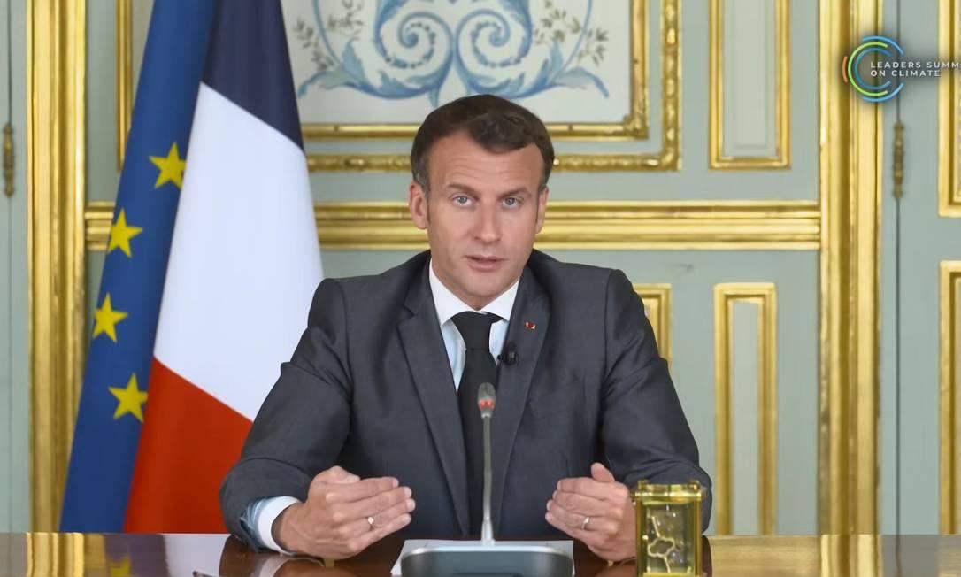 Emmanuel Macron, presidnte da França, ressalta necessidade de inovação e regulação Foto: Reprodução