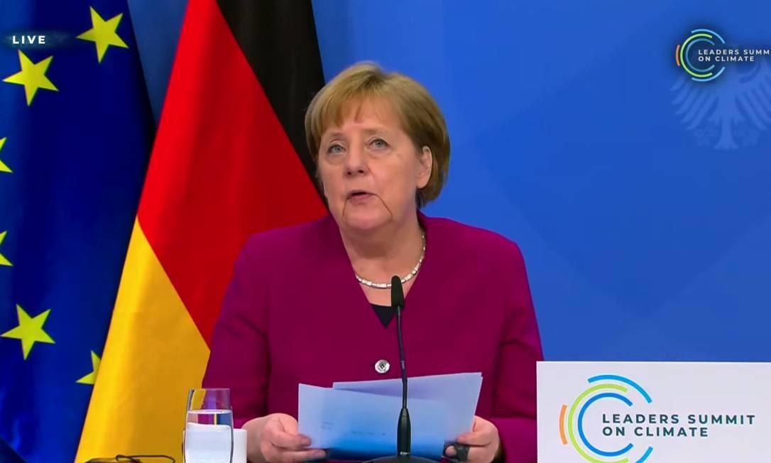 Angela Merkel, primeira-ministra da Alemanha, ressalta retorno americano à cena climática Foto: Reprodução