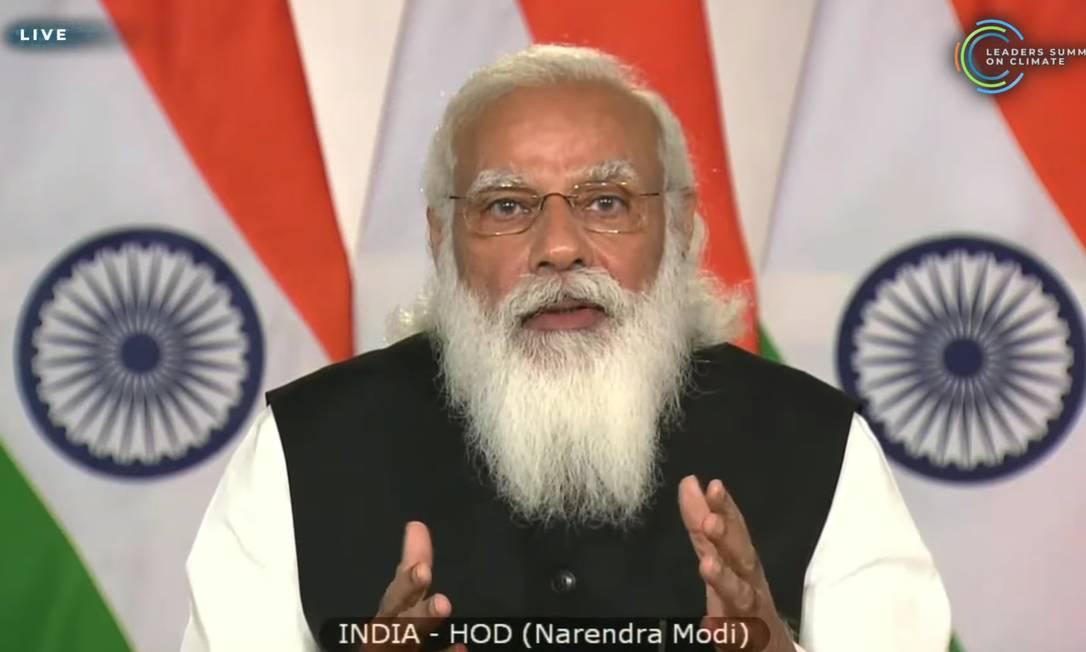 Narendra Modi, primeiro-ministro da Índia, cobrou atuação de países desenvolvidos no combate à crise climática Foto: Reprodução