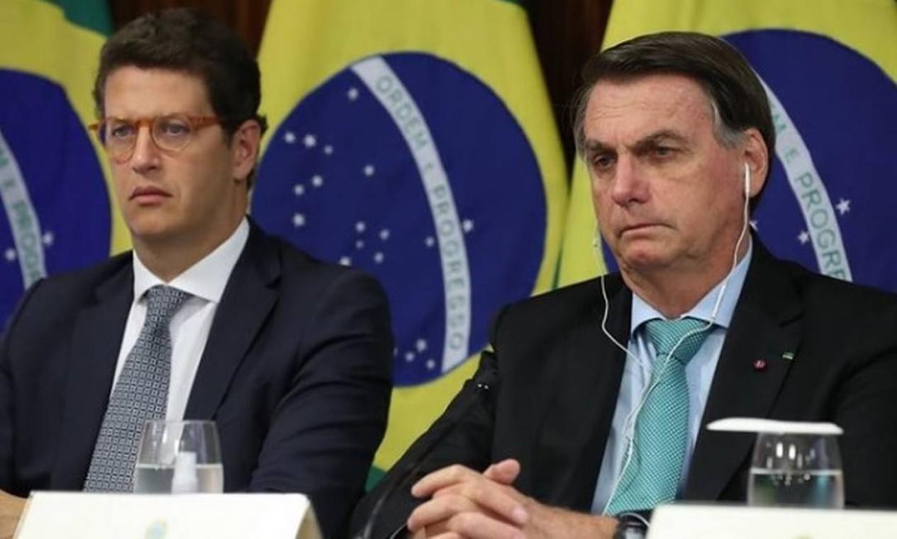 O ministro do Meio Ambiente, Ricardo Salles, e o presidente Jair Bolsonaro na Cúpula dos Líderes sobre o Clima convocada pelo presidente dos EUA, Joe Biden Foto: Reprodução/Instagram
