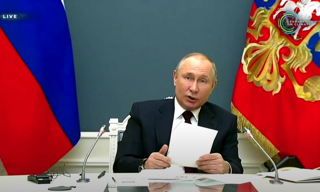 Vladmir Putin, presidente da Rússia, indica que Rússia poderá ter carbono neutro até 2050 Foto: Reprodução