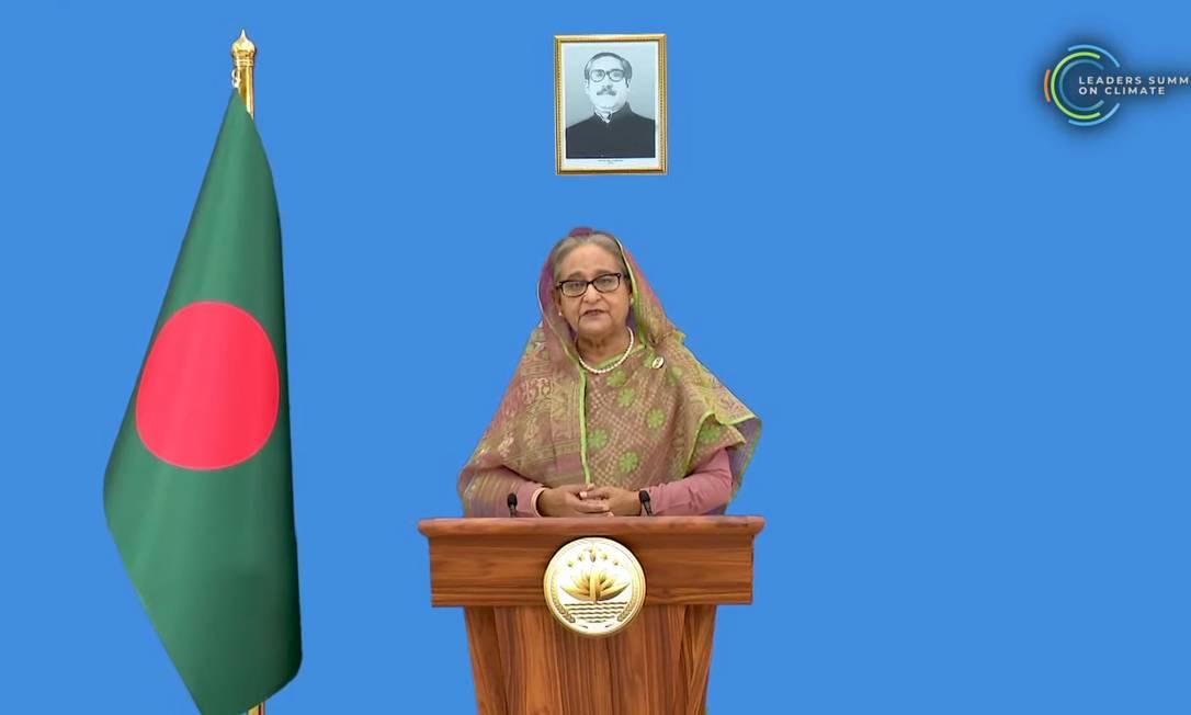 Sheikh Hasina, primeira-ministra de Bangladesh, lembrou que crises globais, como a atual pandemia, precisam ser enfrentadas com esforço de todos Foto: Reprodução