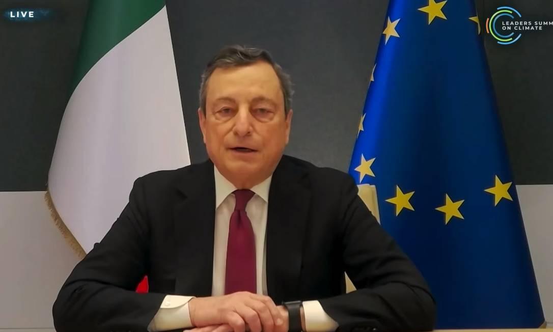 Mario Draghi, primeiro-ministro da Itália, ressalta meta de zerar emissões de carbono até 2050 Foto: Reprodução