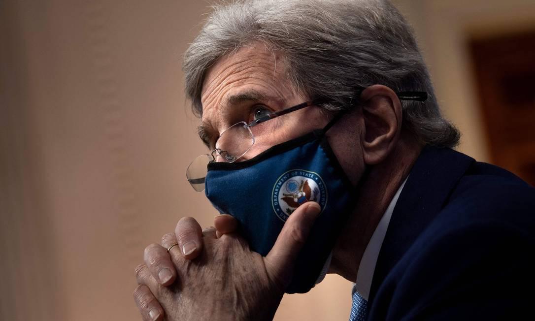 Enviado especial da Casa Branca para o Clima, John Kerry, durante a Cúpula de Líderes sobre o Clima Foto: BRENDAN SMIALOWSKI / AFP