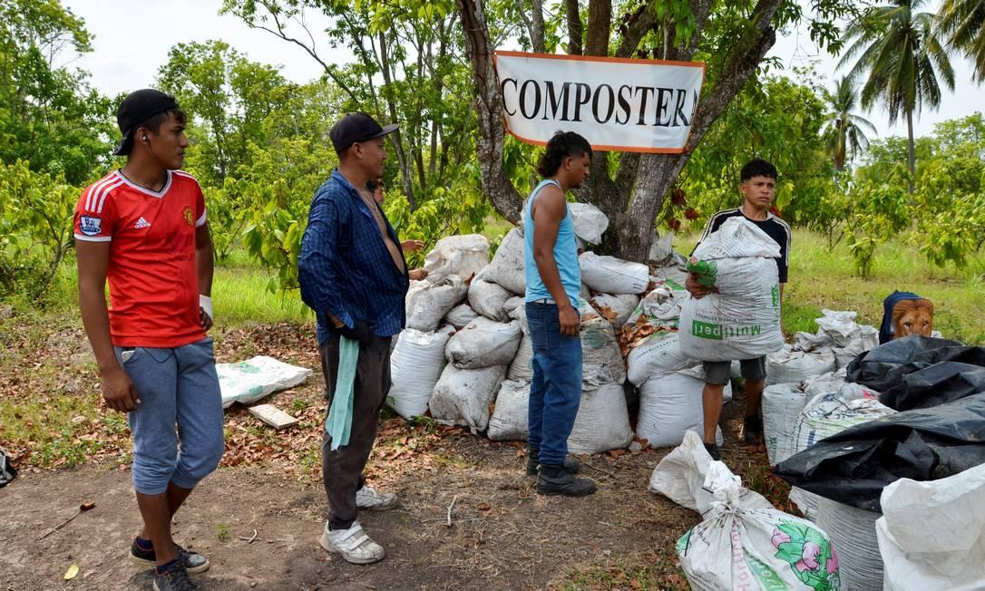 Migrantes trabalhando no solo do Centro Florestal de Tapachula, México, próximo à fronteira com a Guatemala Foto: JOSE TORRES / REUTERS