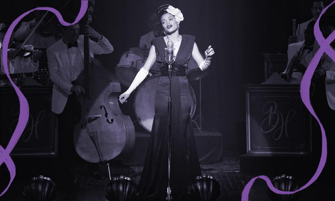 """Andra Day como Billie Holiday no filme """"Estados Unidos vs. Billie Holiday"""" Foto: Reprodução"""