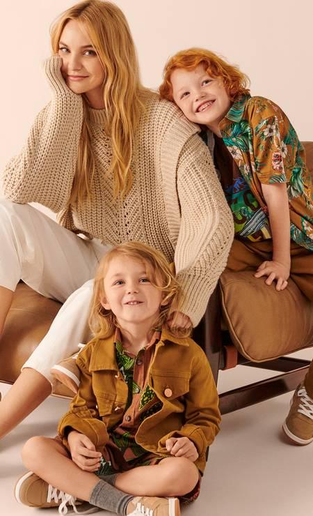 Carol Trentini com os filhos Foto: Divulgaão