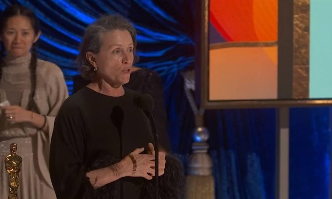 """""""Nomadland"""" foi o grande premiado da noite, levando, entre outros prêmios, o de Melhor Filme. O longa conta a história de uma mulher que, após enfrentar problemas financeiros, acaba se tornando uma nômade moderna Foto: Reprodução"""