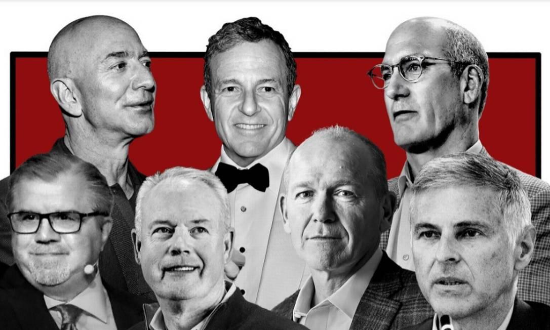 Da esquerda para direita, os CEOs que ganharam como nunca, mesmo na pandemia: Jeff Bezos da Amazon; Robert A. Iger da Disney; John Stankey, da AT&T; Chris Nassetta, do Hilton; David Calhoun, da Boeing; Kevin Johnson, da Starbucks; e Frank Del Rio; da Norwegian Cruise Line Foto: Montagem NYT