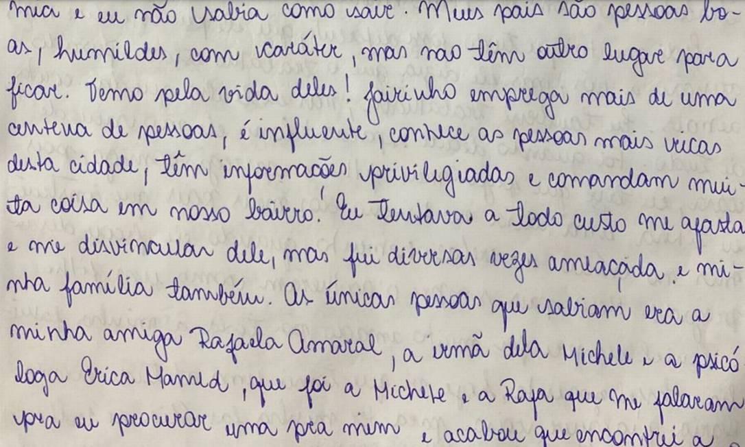 Trecho da carta de Monique Medeiros Foto: Reprodução