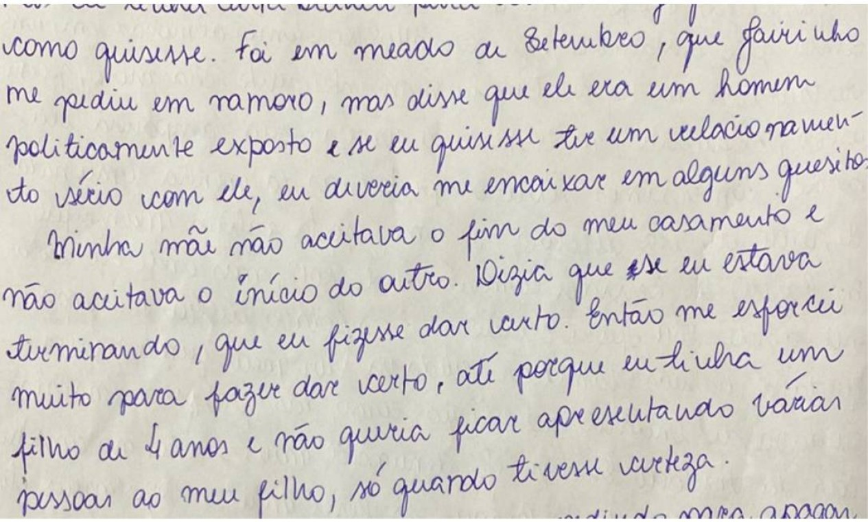 Carta foi escrita na última sexta-feira (23), no Hospital Penitenciário Hamilton Agostinho, no Complexo Penitenciário de Gericinó, onde recebe tratamento contra a Covid-19. A professora descreve uma rotina de violências, humilhações e crises de ciúmes do namorado, o médico e vereador Jairo Souza Santos Júnior, o Dr. Jairinho (sem partido) Foto: Reprodução