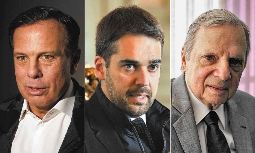 João Doria, Eduardo Leite e Tasso Jereissati Foto: Editoria de Arte
