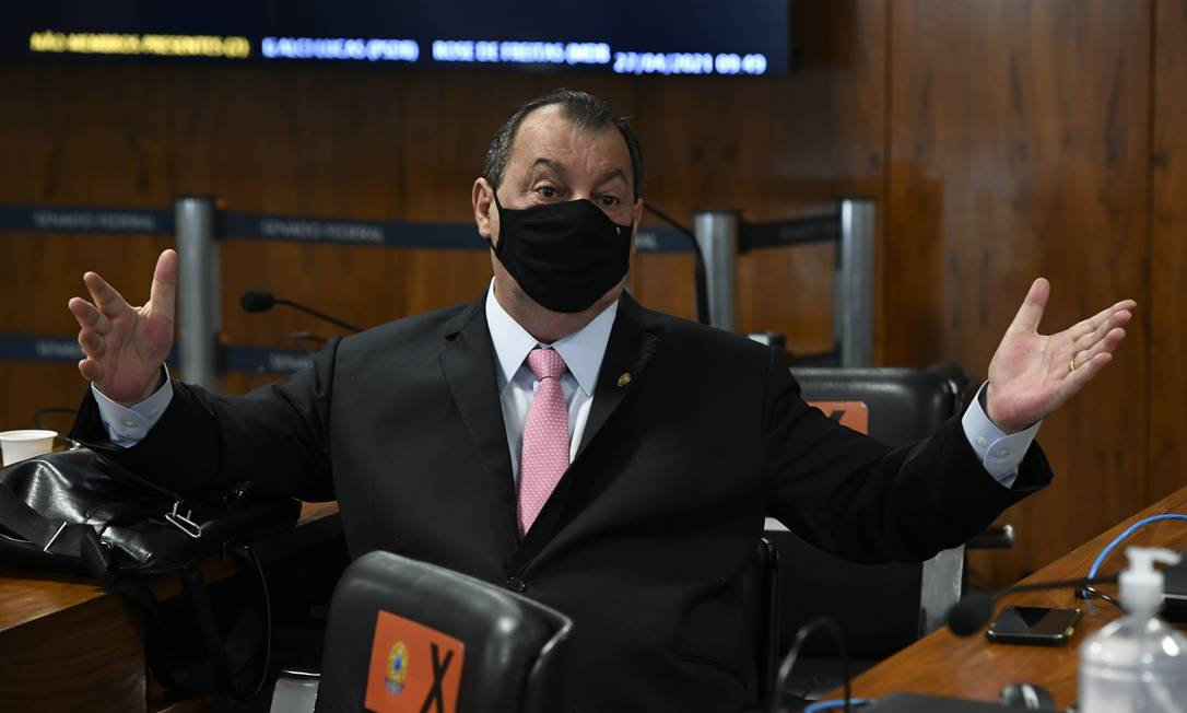 Senador Omar Aziz (PSD-AM) é eleito presidente da CPI Foto: Jefferson Rudy / Agência O Globo - 27/04/2021