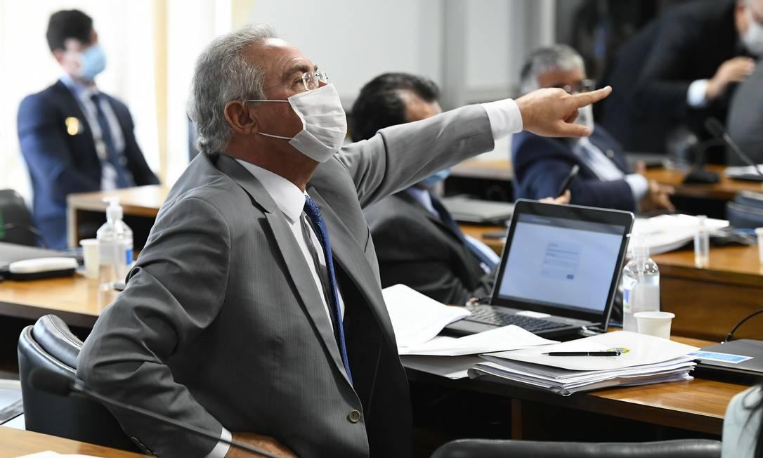 Senador Renan Calheiros (MDB-AL) foi indicado como relator por Aziz Foto: Jefferson Rudy / Agência O Globo - 05/05/2021