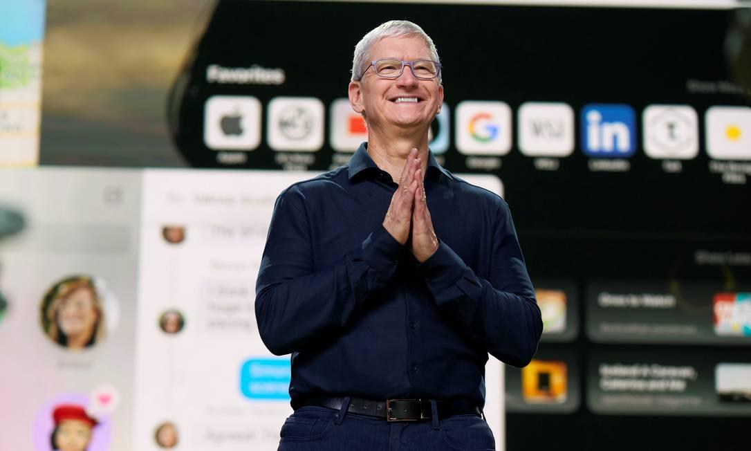 """O CEO da Apple, Tim Cook, afirmou que a pandemia tem sido um momento de """"grande inovação"""" para aApple Foto: BROOKS KRAFT / via REUTERS"""