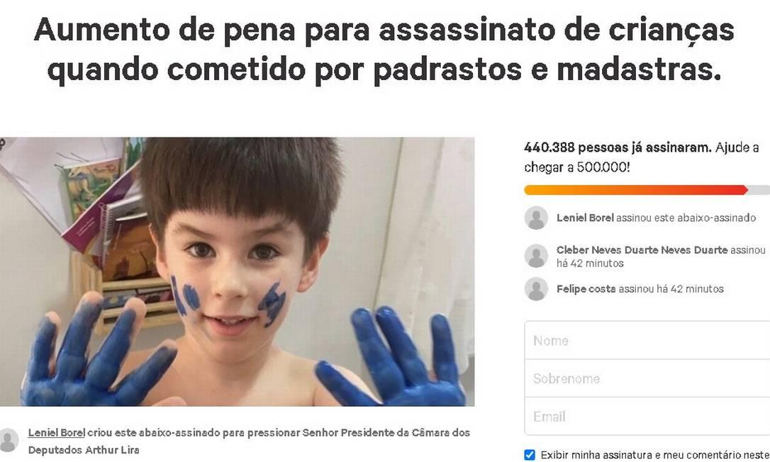 Campanha criada pelo pai do menino já tem mais de 440 mil assinaturas Foto: Reprodução