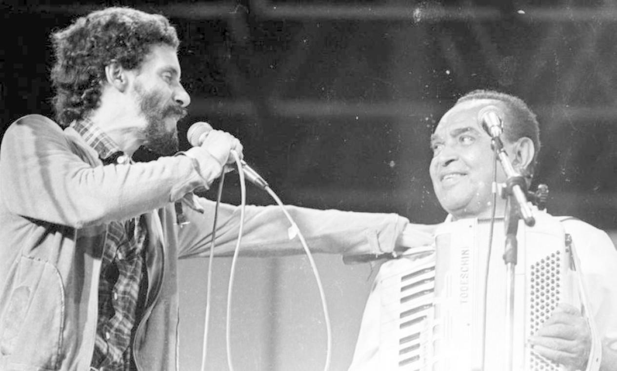 Gonzaguinha e Gonzagão em show no Canecão, em outubro de 1987 Foto: Cristina Granato / Divulgação