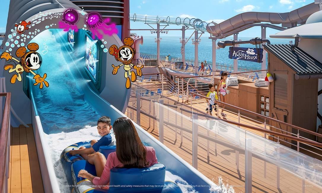 Projeção de como será a montanha-russa aquática AquaMouse, no navio Disney Wish Foto: Disney Cruise Line / Divulgação