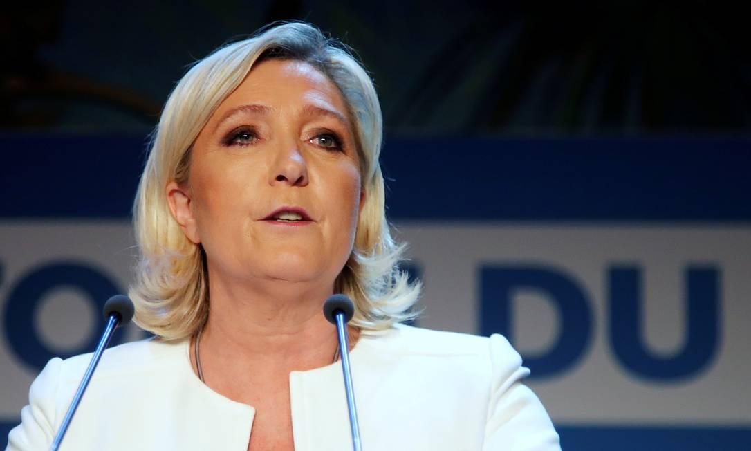 Marine Le Pen durante discurso em maio de 2019 Foto: CHARLES PLATIAU / REUTERS