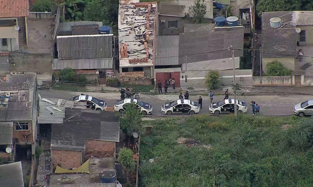 Operação da Polícia Civil em São Gonçalo, em fevereiro deste ano Foto: Reprodução