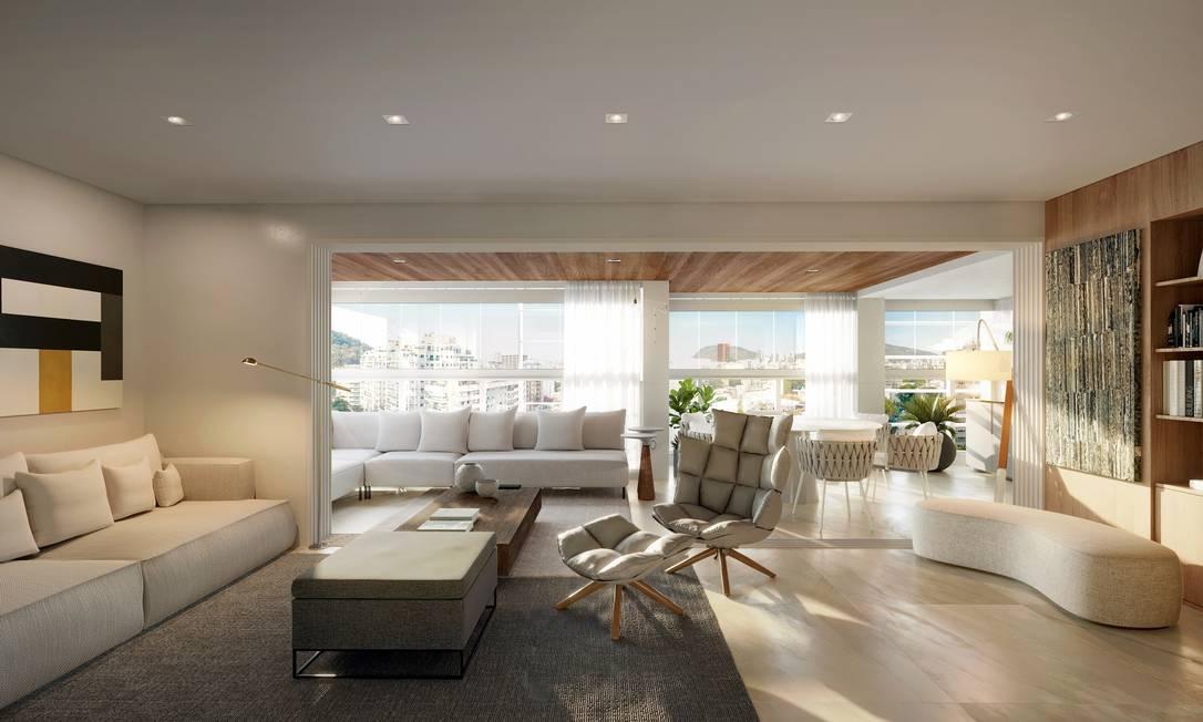 Sala ampliada. Abrir o ambiente foi a opção do comprador de um apartamento do Blanc 260, em Botafogo Foto: Opportunity| Divulgação