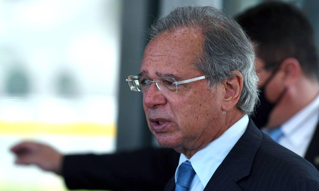 O ministro da Economia, Paulo Guedes, durante entrevista Foto: Edu Andrade / Ascom/ME