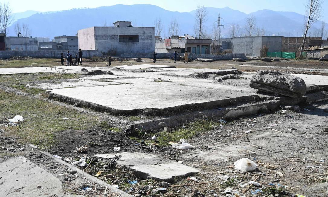 Terreno onde ficava a casa de Osama bin Laden em Abbottabad, no Paquistão, em fevereiro de 2021. Construção foi demolida em fevereiro de 2012, para que não se tornasse uma espécie de santuário Foto: FAROOQ NAEEM / AFP